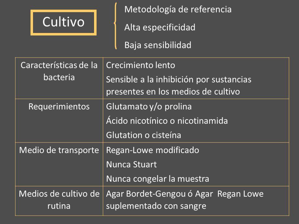Cultivo Metodología de referencia Alta especificidad Baja sensibilidad Características de la bacteria Crecimiento lento Sensible a la inhibición por s