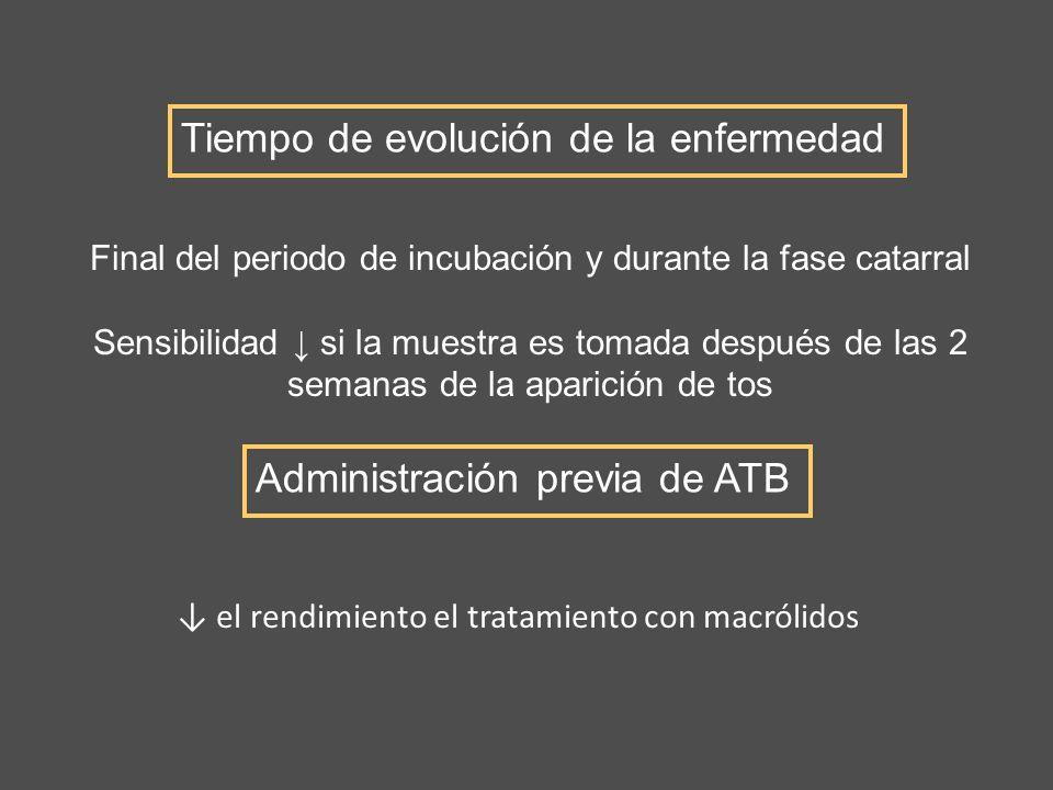 el rendimiento el tratamiento con macrólidos Tiempo de evolución de la enfermedad Administración previa de ATB Final del periodo de incubación y duran