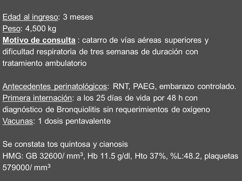 Edad al ingreso: 3 meses Peso: 4,500 kg Motivo de consulta : catarro de vías aéreas superiores y dificultad respiratoria de tres semanas de duración c