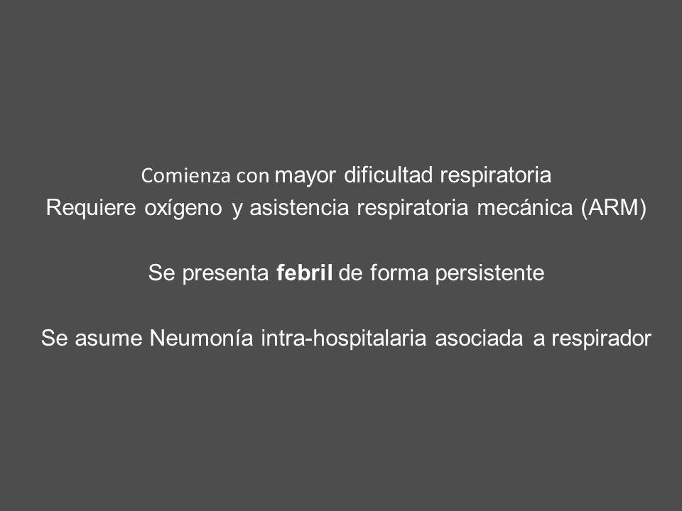 Comienza con mayor dificultad respiratoria Requiere oxígeno y asistencia respiratoria mecánica (ARM) Se presenta febril de forma persistente Se asume