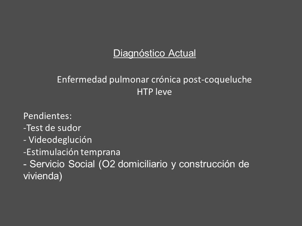 Diagnóstico Actual Enfermedad pulmonar crónica post-coqueluche HTP leve Pendientes: -Test de sudor - Videodeglución -Estimulación temprana - Servicio