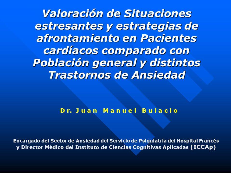 Valoración de Situaciones estresantes y estrategias de afrontamiento en Pacientes cardíacos comparado con Población general y distintos Trastornos de