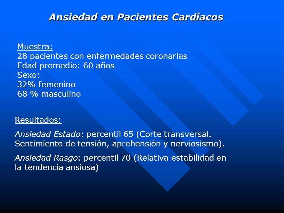 Muestra: 28 pacientes con enfermedades coronarias Edad promedio: 60 años Sexo: 32% femenino 68 % masculino Ansiedad en Pacientes Cardíacos Resultados: