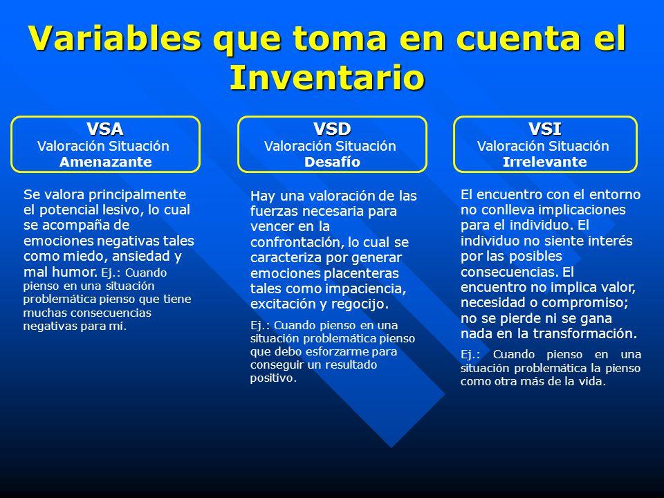 Variables que toma en cuenta el Inventario VSI Valoración Situación Irrelevante El encuentro con el entorno no conlleva implicaciones para el individu