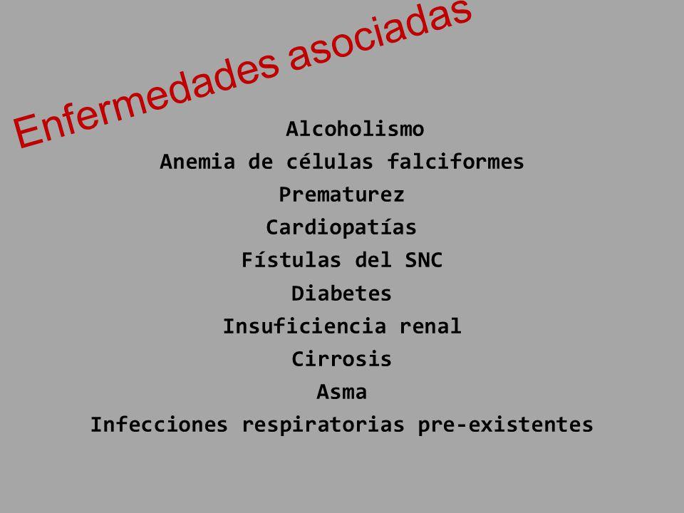 Alcoholismo Anemia de células falciformes Prematurez Cardiopatías Fístulas del SNC Diabetes Insuficiencia renal Cirrosis Asma Infecciones respiratoria