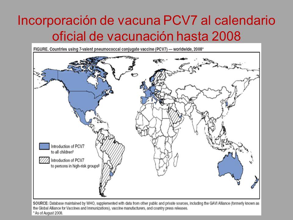 Incorporación de vacuna PCV7 al calendario oficial de vacunación hasta 2008