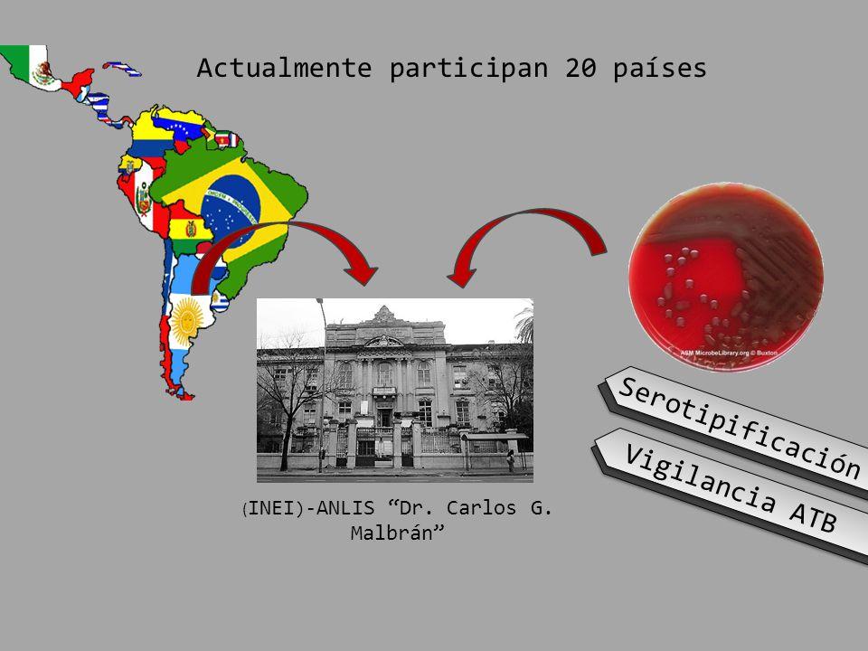 ( INEI )- ANLIS Dr. Carlos G. Malbrán Actualmente participan 20 países Vigilancia ATB Serotipificación