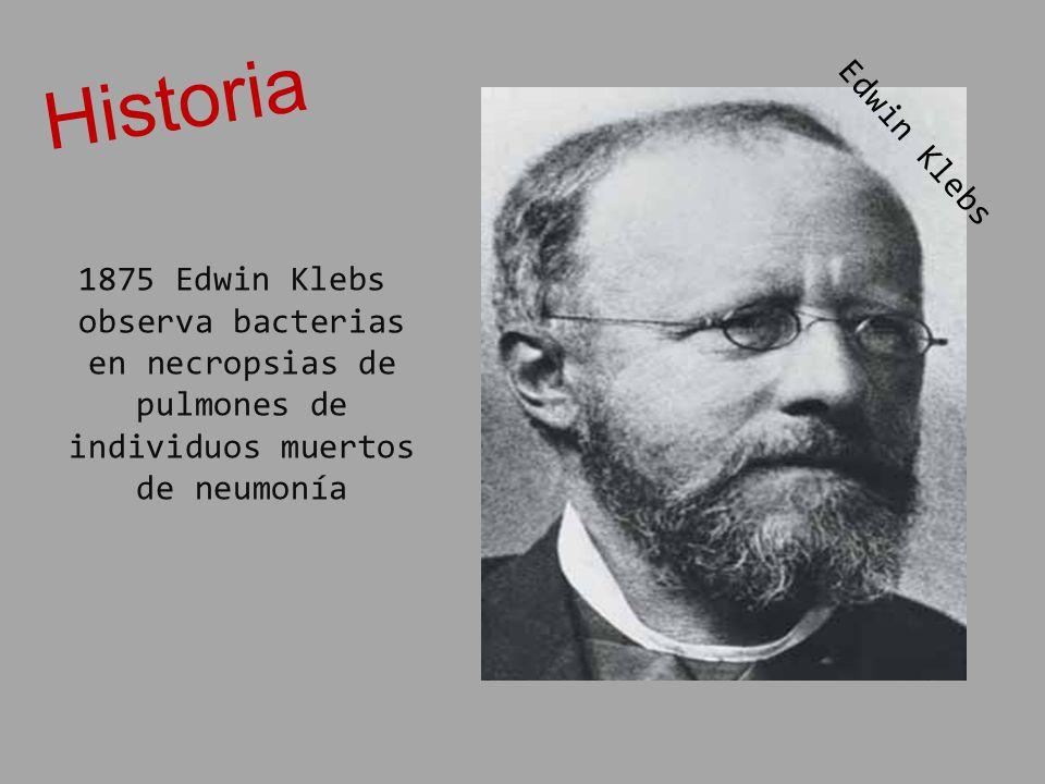 1875 Edwin Klebs observa bacterias en necropsias de pulmones de individuos muertos de neumonía Historia E d w i n K l e b s