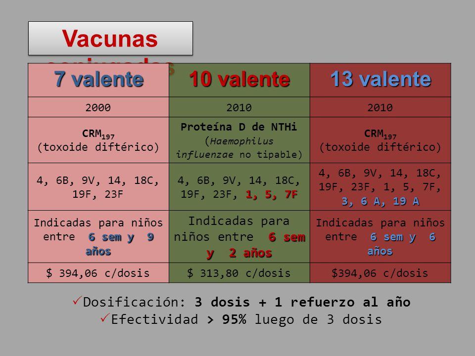 Vacunas conjugadas 7 valente 10 valente 13 valente 20002010 CRM 197 (toxoide diftérico) Proteína D de NTHi ( Haemophilus influenzae no tipable) CRM 19