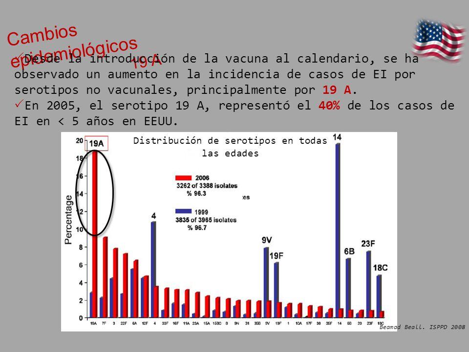 Distribución de serotipos en todas las edades Cambios epidemiológicos 19 A Desde la introducción de la vacuna al calendario, se ha observado un aument