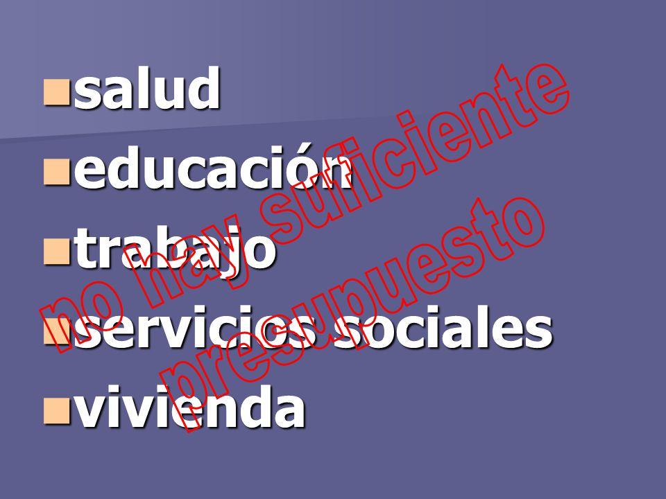 salud salud educación educación trabajo trabajo servicios sociales servicios sociales vivienda vivienda
