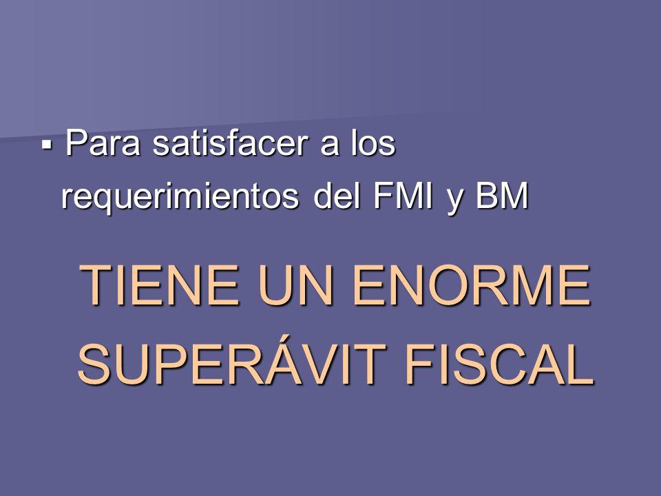 Para satisfacer a los Para satisfacer a los requerimientos del FMI y BM requerimientos del FMI y BM TIENE UN ENORME SUPERÁVIT FISCAL