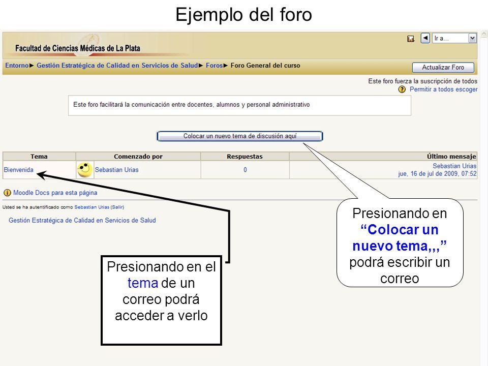 Ejemplo del foro Presionando en Colocar un nuevo tema,,, podrá escribir un correo Presionando en el tema de un correo podrá acceder a verlo