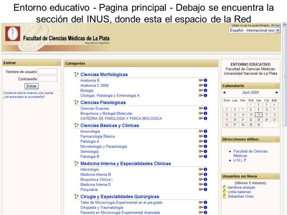 Entorno educativo - Pagina principal - Debajo se encuentra la sección del INUS, donde esta el espacio de la Red