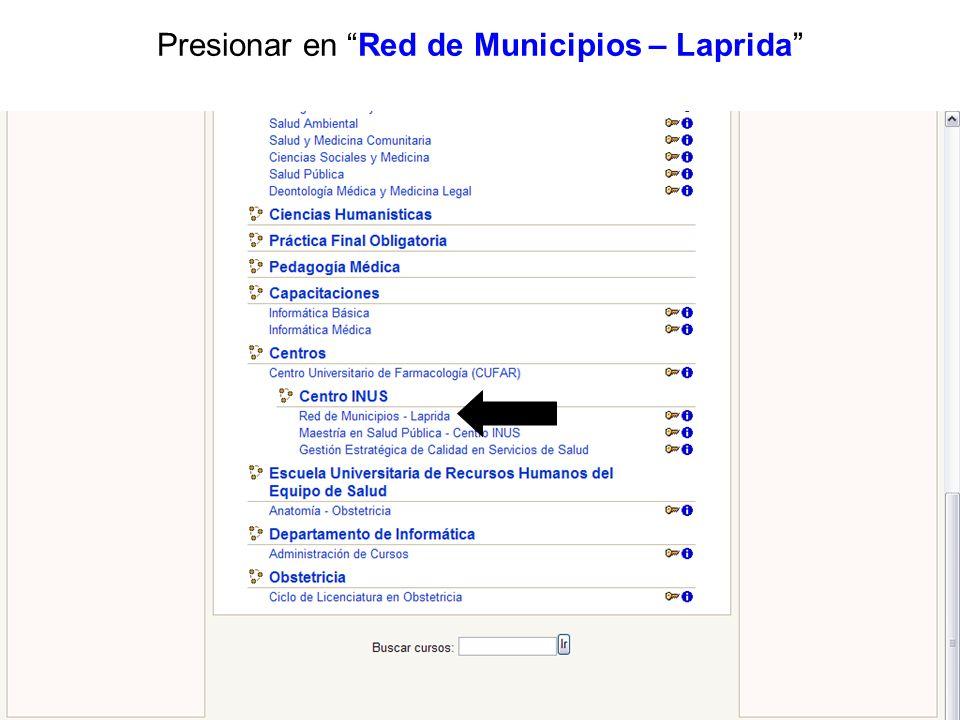 Presionar en Red de Municipios – Laprida