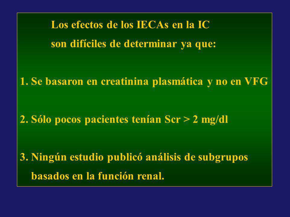 Los efectos de los IECAs en la IC son difíciles de determinar ya que: 1. Se basaron en creatinina plasmática y no en VFG 2. Sólo pocos pacientes tenía