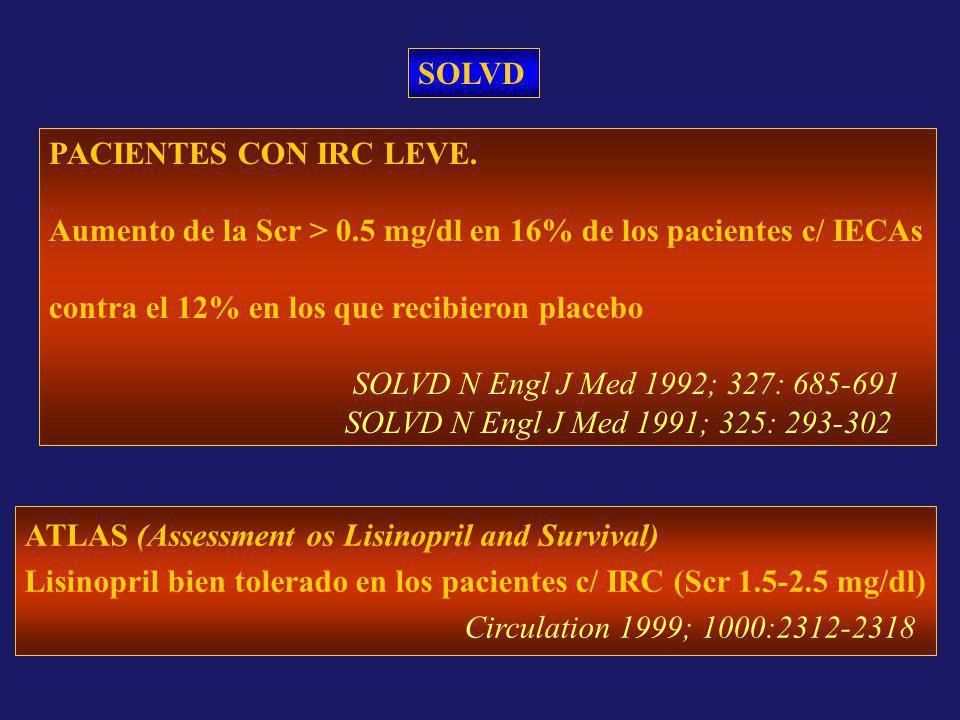 SOLVD PACIENTES CON IRC LEVE. Aumento de la Scr > 0.5 mg/dl en 16% de los pacientes c/ IECAs contra el 12% en los que recibieron placebo SOLVD N Engl