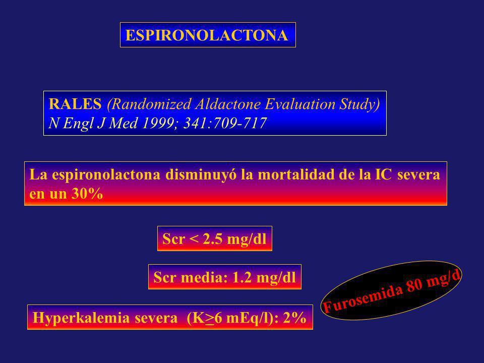 ESPIRONOLACTONA RALES (Randomized Aldactone Evaluation Study) N Engl J Med 1999; 341:709-717 La espironolactona disminuyó la mortalidad de la IC sever