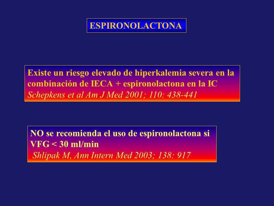 ESPIRONOLACTONA NO se recomienda el uso de espironolactona si VFG < 30 ml/min Shlipak M, Ann Intern Med 2003; 138: 917 Existe un riesgo elevado de hip