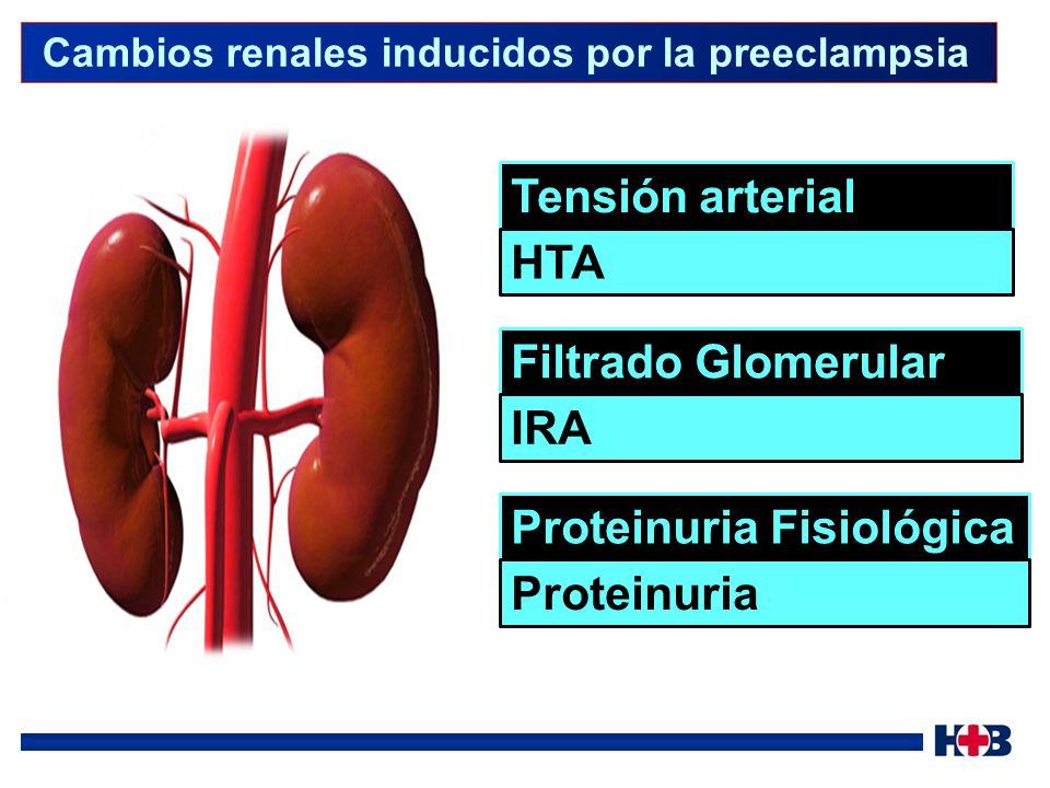 Pre-eclmapsia sobreimpuesta HTA crónica Sin proteinuria antes de las semana 20 de gestación: Aparición de proteinuria en mujeres con hipertensión crónica Con proteinuria antes de las semana 20 de gestación: Aumento súbito de la proteinuria Aumento súbito en la hipertensión arterial Trombocitopenia (< 100000 plaq/mm 3 ) Aumento de las enzimas hepáticas Eclampsia Aparición súbita de convulsiones tónico clónicas durante el embarazo o hasta 4 semanas después del parto en mujeres preeclámpticas.
