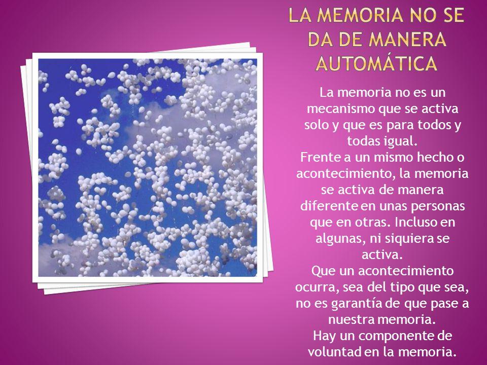 La memoria no es un mecanismo que se activa solo y que es para todos y todas igual.