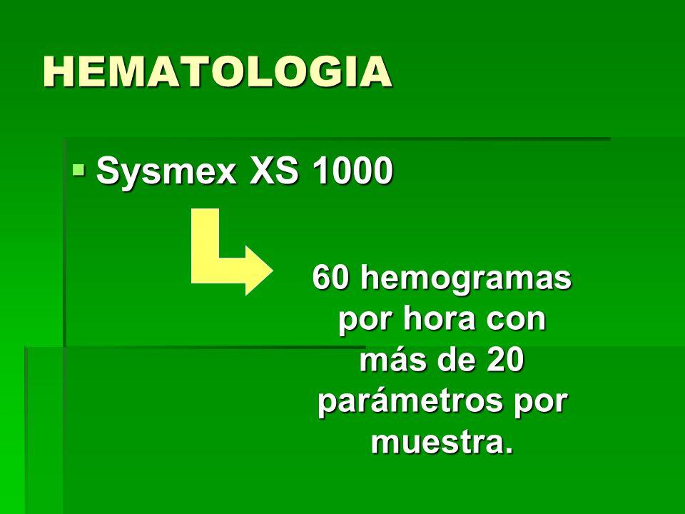 HEMATOLOGIA Sysmex XS 1000 Sysmex XS 1000 60 hemogramas por hora con más de 20 parámetros por muestra.