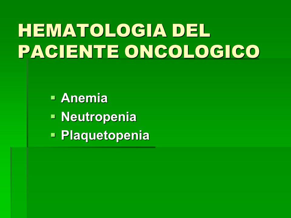 HEMATOLOGIA DEL PACIENTE ONCOLOGICO Anemia Anemia Neutropenia Neutropenia Plaquetopenia Plaquetopenia