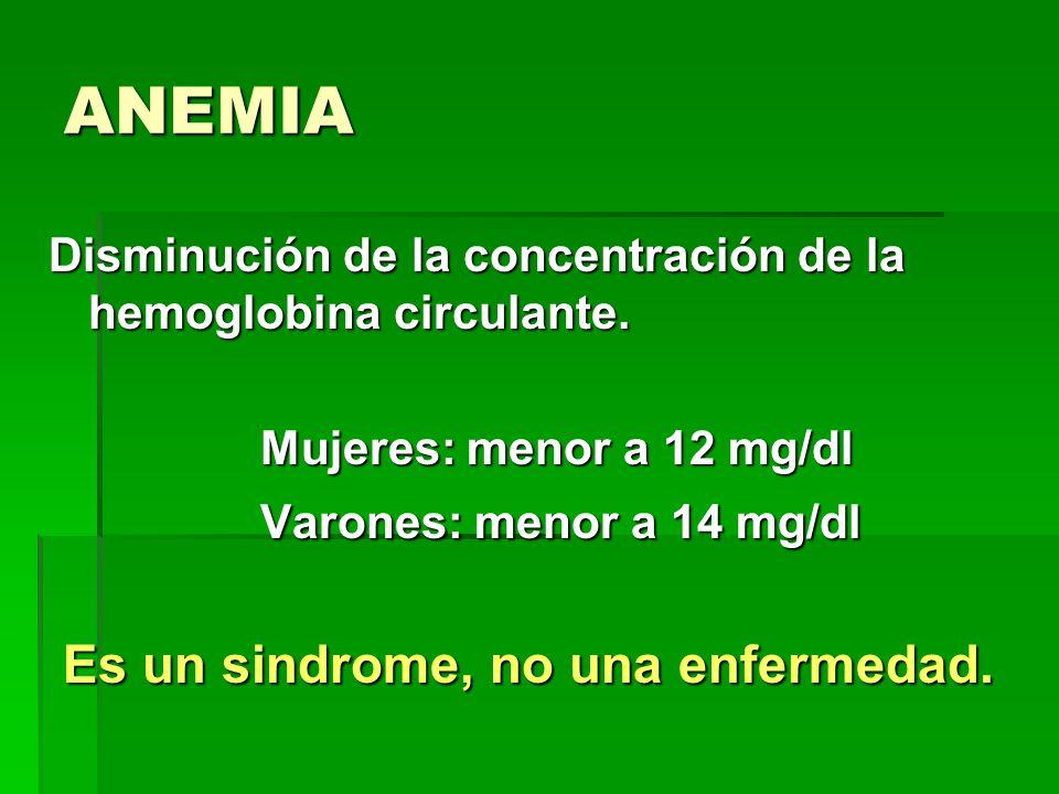 ANEMIA Disminución de la concentración de la hemoglobina circulante. Mujeres: menor a 12 mg/dl Varones: menor a 14 mg/dl Es un sindrome, no una enferm