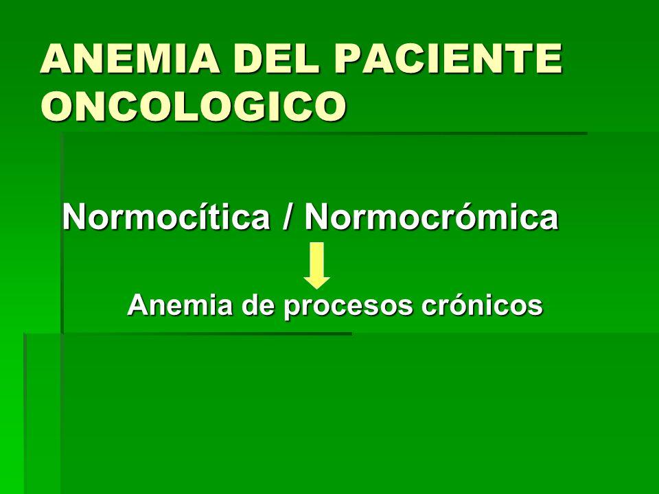ANEMIA DEL PACIENTE ONCOLOGICO Normocítica / Normocrómica Anemia de procesos crónicos Anemia de procesos crónicos