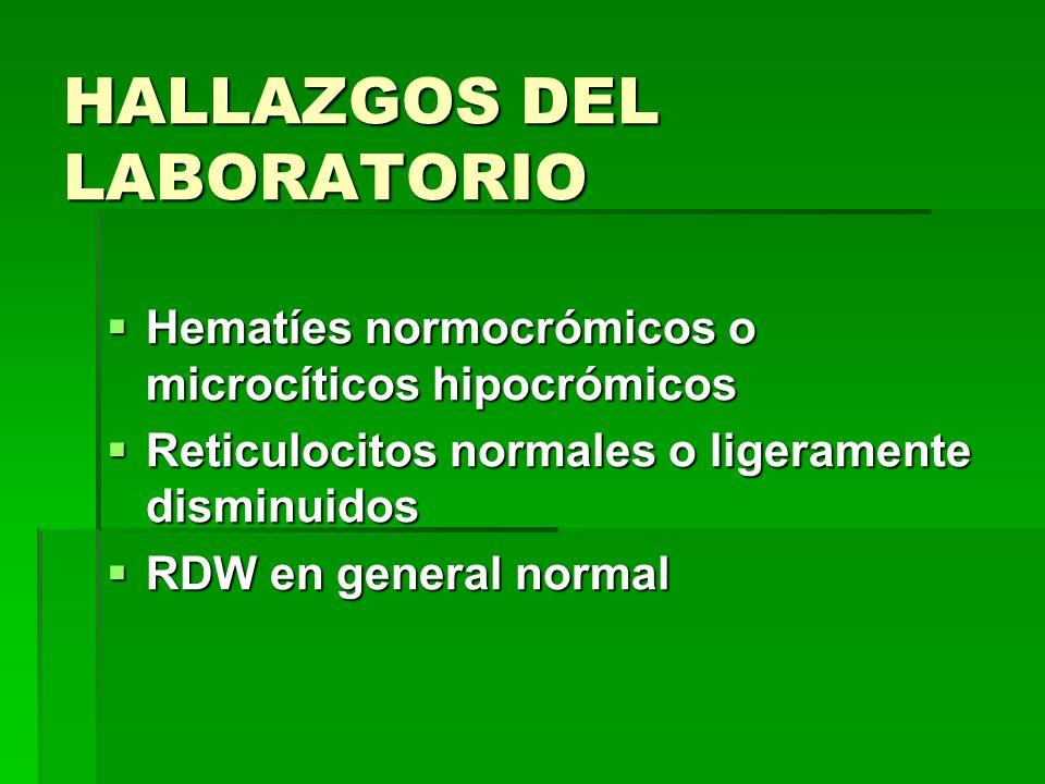 HALLAZGOS DEL LABORATORIO Hematíes normocrómicos o microcíticos hipocrómicos Hematíes normocrómicos o microcíticos hipocrómicos Reticulocitos normales