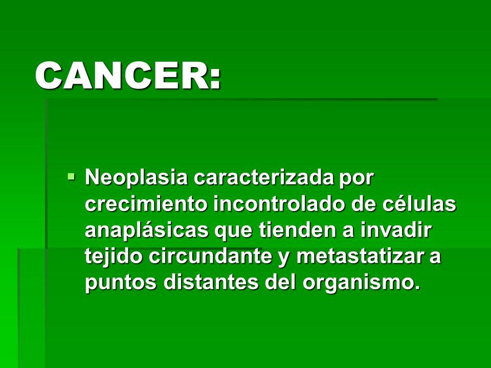 CANCER: Neoplasia caracterizada por crecimiento incontrolado de células anaplásicas que tienden a invadir tejido circundante y metastatizar a puntos d