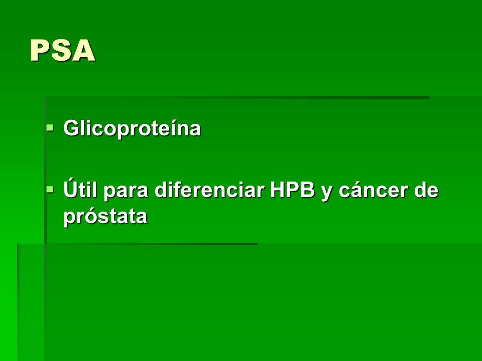 PSA Glicoproteína Glicoproteína Útil para diferenciar HPB y cáncer de próstata Útil para diferenciar HPB y cáncer de próstata