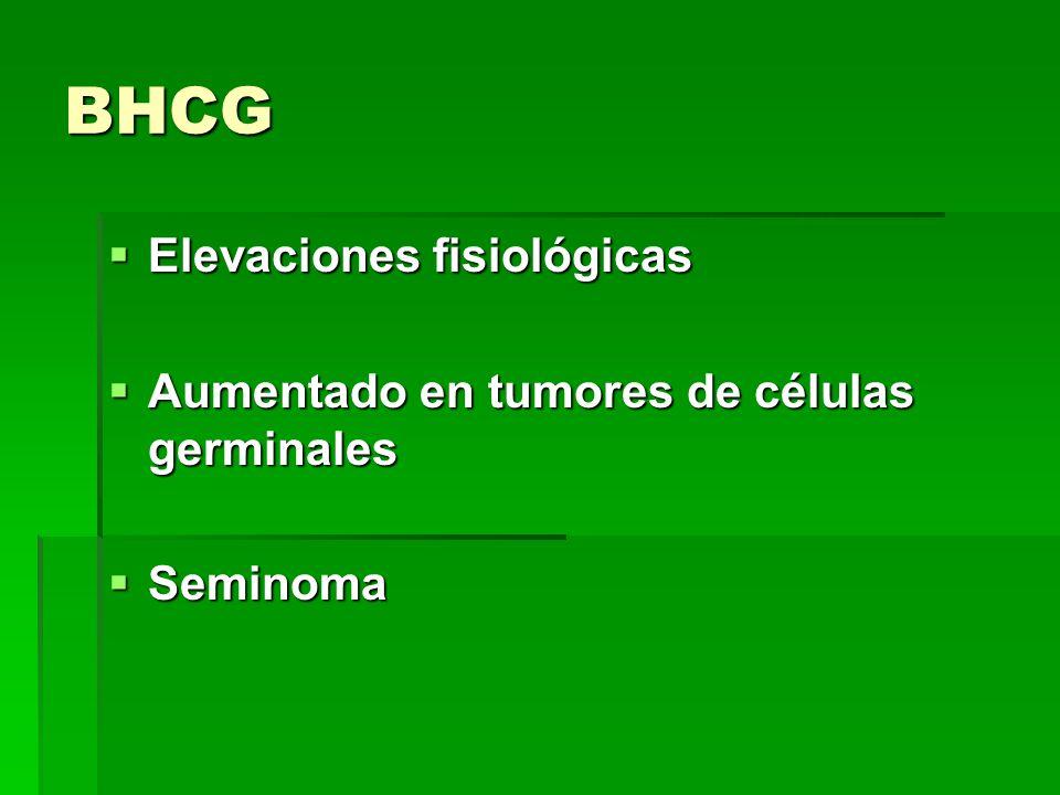 BHCG Elevaciones fisiológicas Elevaciones fisiológicas Aumentado en tumores de células germinales Aumentado en tumores de células germinales Seminoma