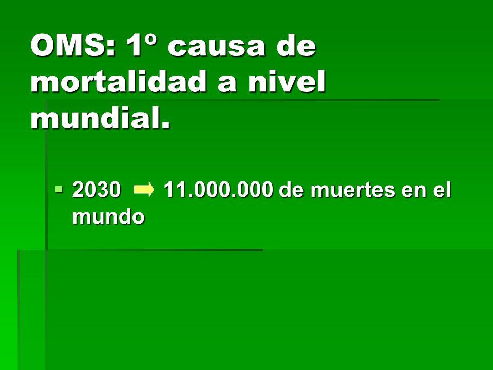 OMS: 1º causa de mortalidad a nivel mundial. 2030 11.000.000 de muertes en el mundo 2030 11.000.000 de muertes en el mundo