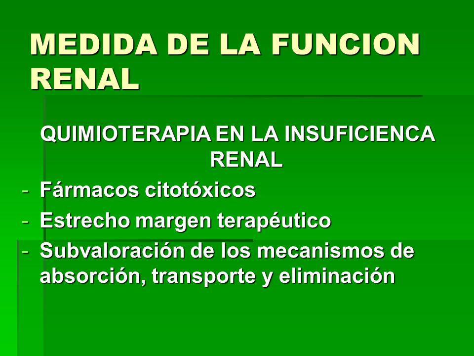 MEDIDA DE LA FUNCION RENAL QUIMIOTERAPIA EN LA INSUFICIENCA RENAL -Fármacos citotóxicos -Estrecho margen terapéutico -Subvaloración de los mecanismos