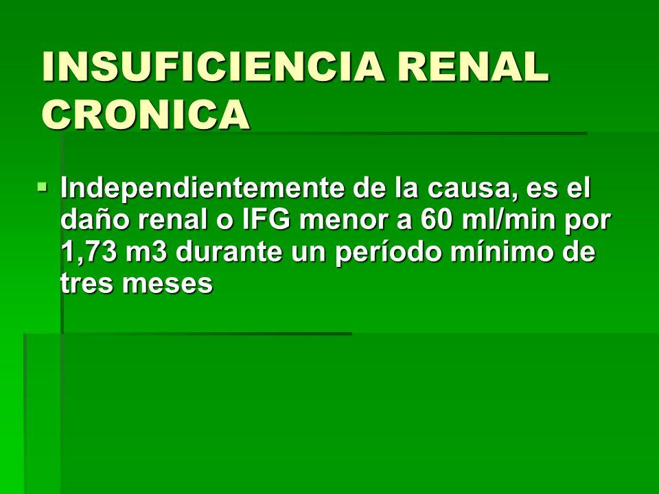 INSUFICIENCIA RENAL CRONICA Independientemente de la causa, es el daño renal o IFG menor a 60 ml/min por 1,73 m3 durante un período mínimo de tres mes