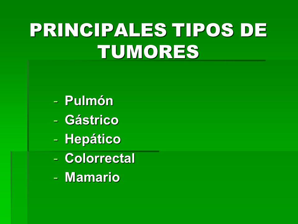 PRINCIPALES TIPOS DE TUMORES -Pulmón -Gástrico -Hepático -Colorrectal -Mamario
