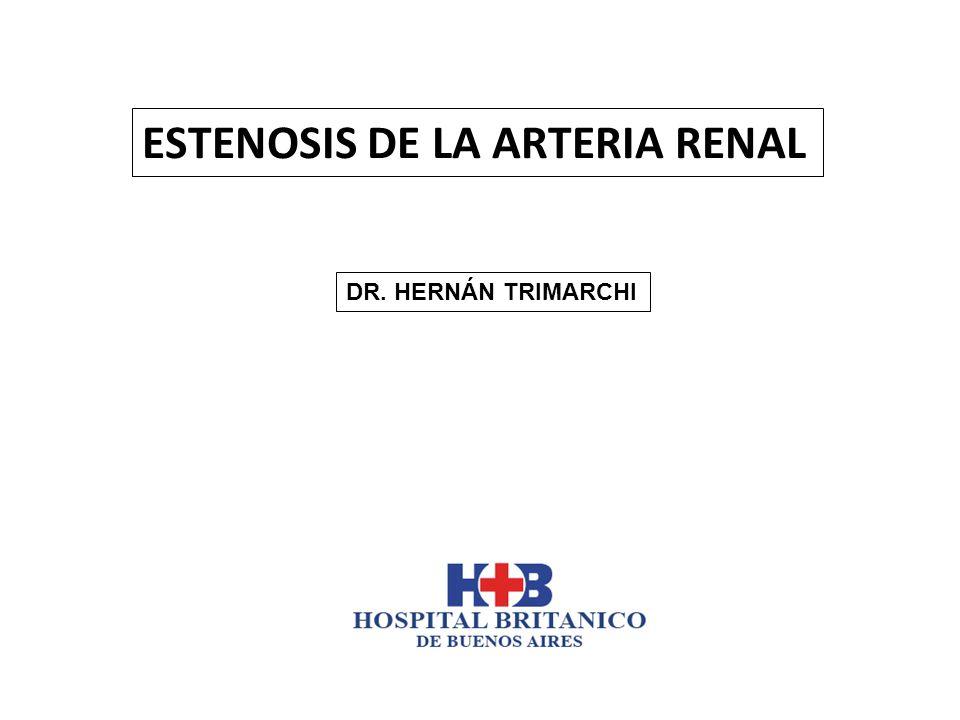 La estenosis de la arteria renal reduce la perfusión renal y puede llevar a: Hipertensión, Disfunción renal y/o Edema pulmonar Hasta recientemente, una estenosis arterial renal crítica se definía como una reducción del diámetro de la arteria > 50% por arteriografía.