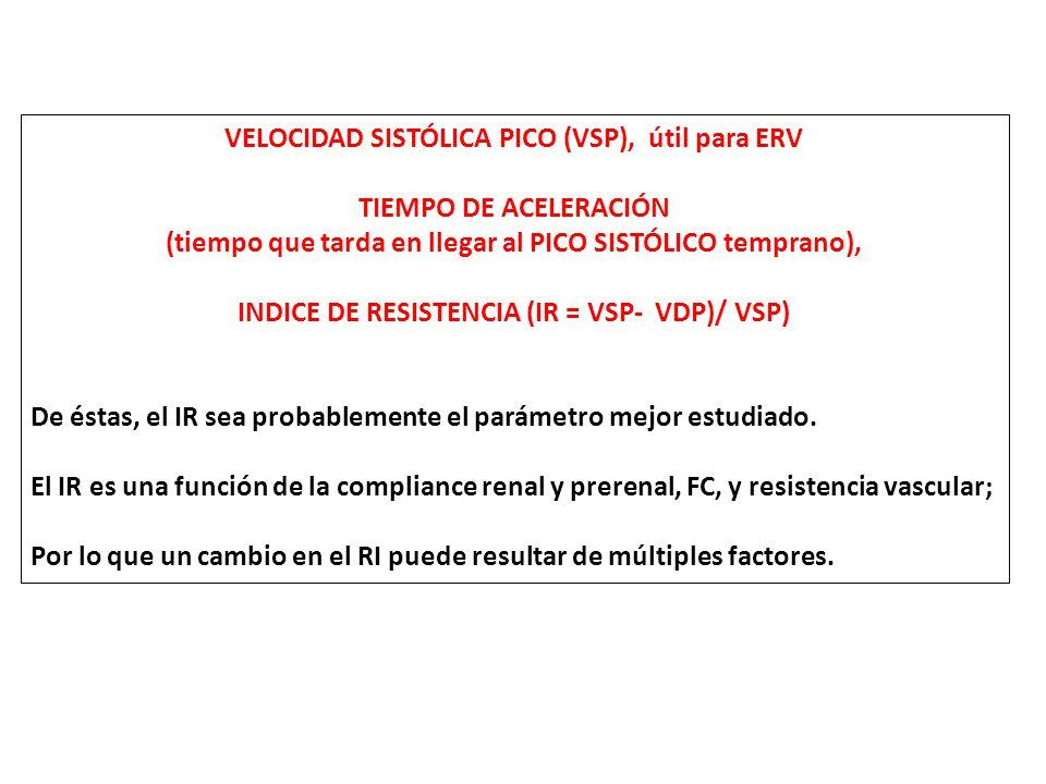 VELOCIDAD SISTÓLICA PICO (VSP), útil para ERV TIEMPO DE ACELERACIÓN (tiempo que tarda en llegar al PICO SISTÓLICO temprano), INDICE DE RESISTENCIA (IR