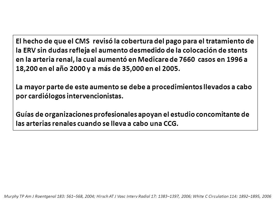 El hecho de que el CMS revisó la cobertura del pago para el tratamiento de la ERV sin dudas refleja el aumento desmedido de la colocación de stents en