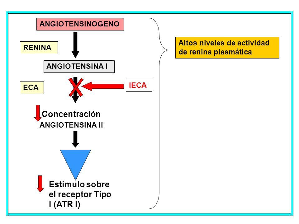 ANGIOTENSINOGENO ANGIOTENSINA I ANGIOTENSINA II ECA RENINA IECA Concentración Estimulo sobre el receptor Tipo I (ATR I) Altos niveles de actividad de renina plasmática