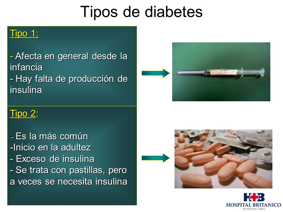 Tipos de diabetes Tipo 1: - Afecta en general desde la infancia - Hay falta de producción de insulina Tipo 2: - Es la más común -Inicio en la adultez