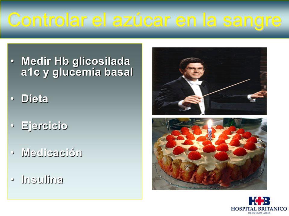 Medir Hb glicosilada a1c y glucemia basalMedir Hb glicosilada a1c y glucemia basal DietaDieta EjercicioEjercicio MedicaciónMedicación InsulinaInsulina