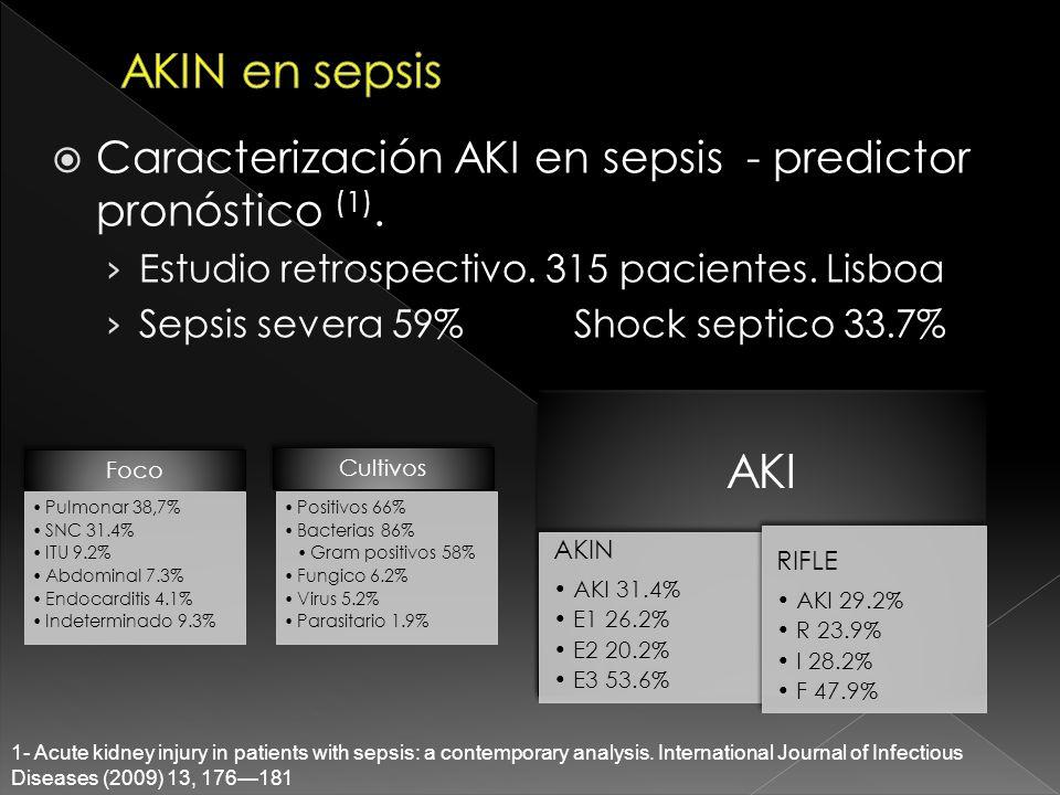 Caracterización AKI en sepsis - predictor pronóstico (1). Estudio retrospectivo. 315 pacientes. Lisboa Sepsis severa 59%Shock septico 33.7% 1- Acute k
