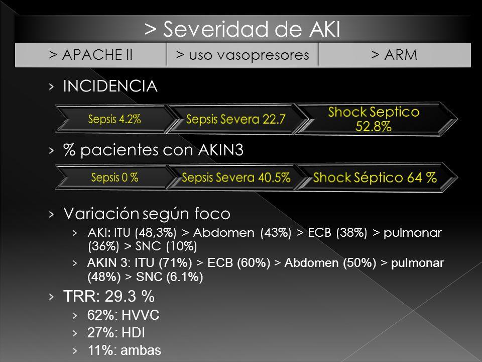 > Severidad de AKI > APACHE II> uso vasopresores> ARM INCIDENCIA % pacientes con AKIN3 Variación según foco AKI: ITU (48,3%) > Abdomen (43%) > ECB (38%) > pulmonar (36%) > SNC (10%) AKIN 3: ITU (71%) > ECB (60%) > Abdomen (50%) > pulmonar (48%) > SNC (6.1%) TRR: 29.3 % 62%: HVVC 27%: HDI 11%: ambas