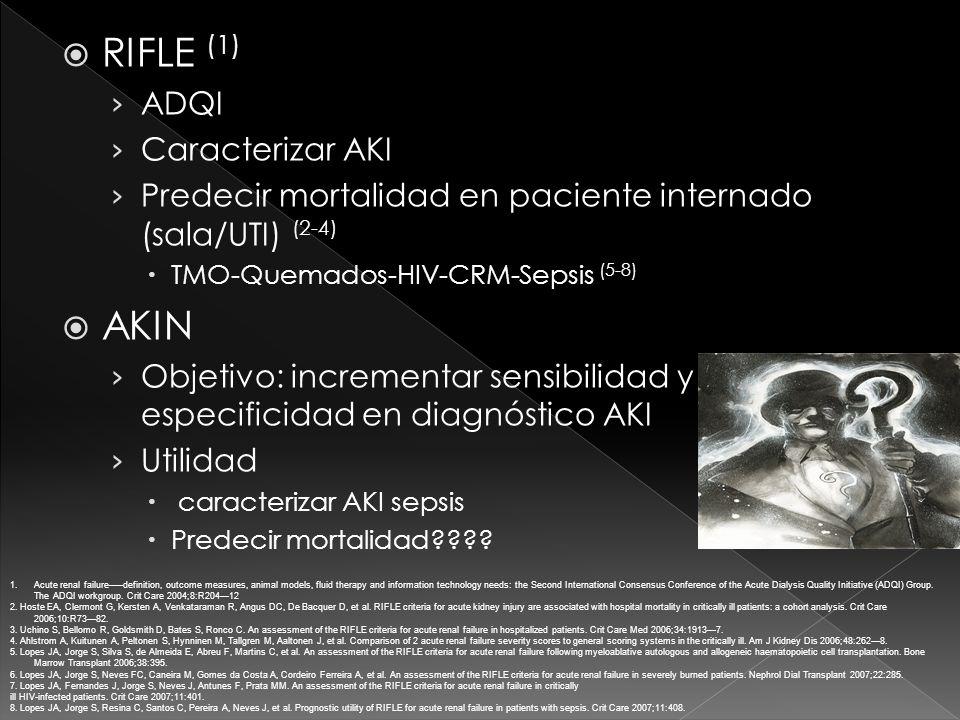 RIFLE (1) ADQI Caracterizar AKI Predecir mortalidad en paciente internado (sala/UTI) (2-4) TMO-Quemados-HIV-CRM-Sepsis (5-8) AKIN Objetivo: incrementar sensibilidad y especificidad en diagnóstico AKI Utilidad caracterizar AKI sepsis Predecir mortalidad???.