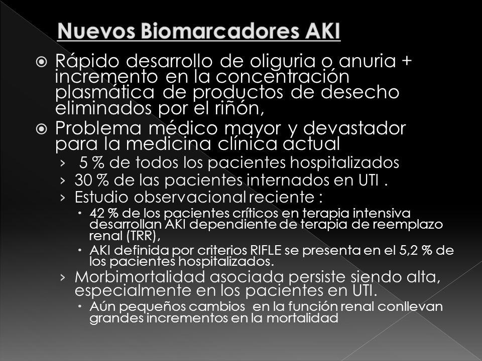 Rápido desarrollo de oliguria o anuria + incremento en la concentración plasmática de productos de desecho eliminados por el riñón, Problema médico ma