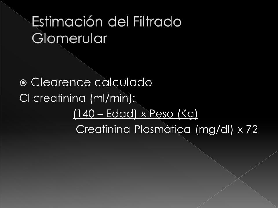 Clearence calculado Cl creatinina (ml/min): (140 – Edad) x Peso (Kg) Creatinina Plasmática (mg/dl) x 72