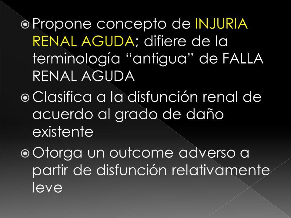 Propone concepto de INJURIA RENAL AGUDA; difiere de la terminología antigua de FALLA RENAL AGUDA Clasifica a la disfunción renal de acuerdo al grado de daño existente Otorga un outcome adverso a partir de disfunción relativamente leve