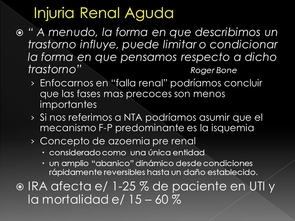 Outcome MORTALIDAD 25.3% TODOS en primer mes Sobrevivientes 95.7% recuperación total función renal Desarrollo de AKI luego de diagnóstico de sepsis Significativo con > deterioro de función renal AKIN Normal: 12.5% E1: 34.6% E2: 45% E3: 64% RIFLE Normal: 12.5% R: 40.9% I: 46.2% F: 68.2% Severidad de Sepsis/ITU Predictores independientes de mortalidad (1) AKIN –RIFLE APACHE II >= 25 ARM Drogas presoras Predictores independientes de mortalidad (1) AKIN –RIFLE APACHE II >= 25 ARM Drogas presoras 1- Acute kidney injury in patients with sepsis: a contemporary analysis.